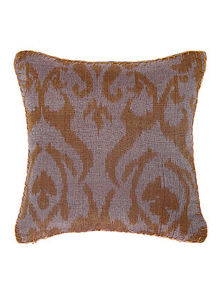Grey-Golden Brocade Silk Cushion Cover (12in x 12in)