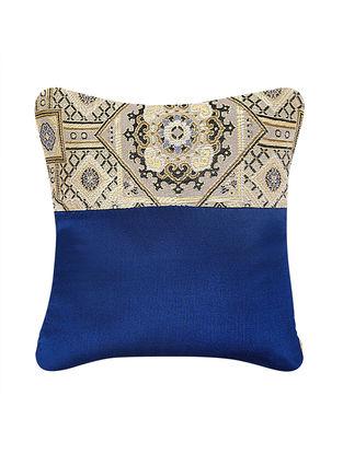 Beige-Blue Brocade Silk Cushion Cover (12in x 12in)
