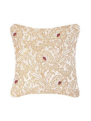 Beige-Golden Brocade Silk Cushion Cover (12in x 12in)