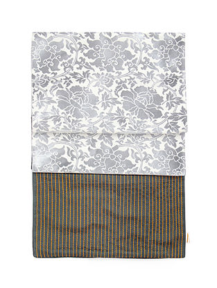 Grey Brocade Silk Table Runner (72in x 12in)