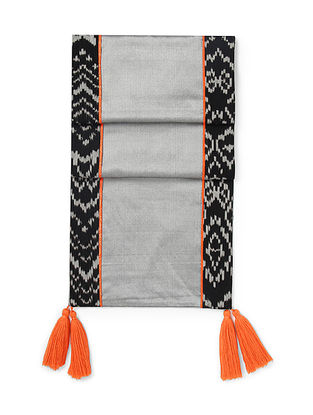 Grey-Orange Brocade and Ikat Silk Table Runner with Tassels (72in x 13in)