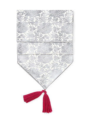 Grey-Pink Brocade Silk Table Runner with Tassels (72in x 12in)