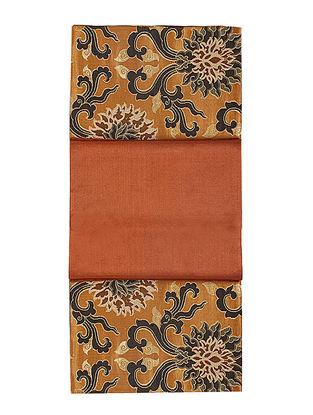 Rust-Golden Brocade Silk Table Runner (72in x 13in)