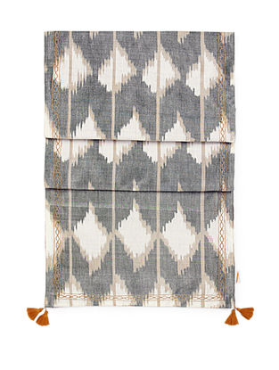 Grey-Rust Brocade and Ikat Silk Table Runner with Tassels (72in x 13in)