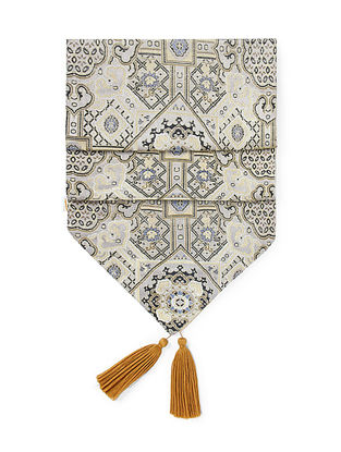 Golden-Beige Brocade and Ikat Silk Table Runner with Tassels (72in x 13in)