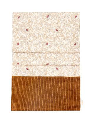 Golden-Beige Brocade and Ikat Silk Table Runner (72in x 13in)