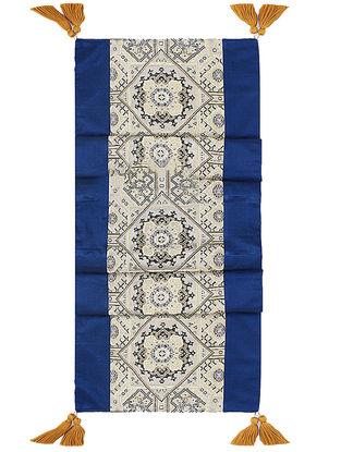 Blue-Golden Brocade Silk Table Runner (72in x 13in)