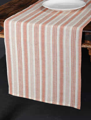 Tuscan Stripe Red Cotton and Linen Table Runner (90in x 17.5in)