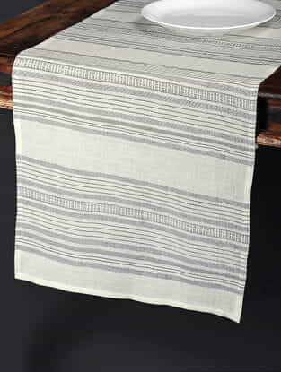 Calypso Stripe White Cotton and Linen Table Runner (91in x 18in)