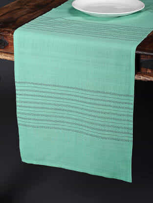 Placement Green Dobby Cotton Tussar Table Runner (91in x 16.5in)