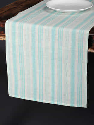 Tuscan Stripe Teal Cotton and Linen Table Runner (92in x 17.5in)