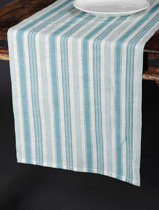 Tuscan Stripe Mint Cotton and Linen Table Runner (92in x 17.5in)