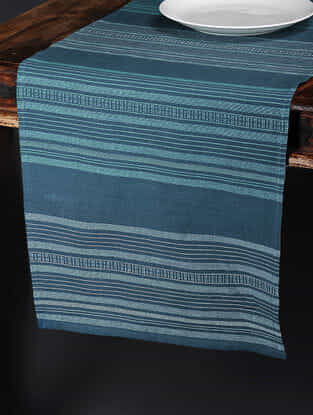 Calypso Stripe Blue Cotton and Linen Table Runner (90in x 17in)