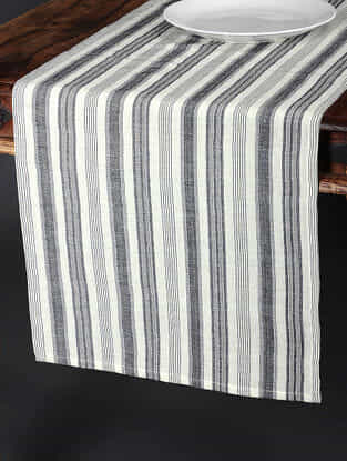 Tuscan Stripe White Cotton and Linen Table Runner (90in x 17.5in)