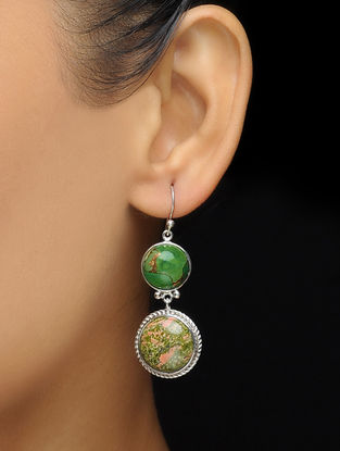 Green Turquoise and Unakite Silver Earrings