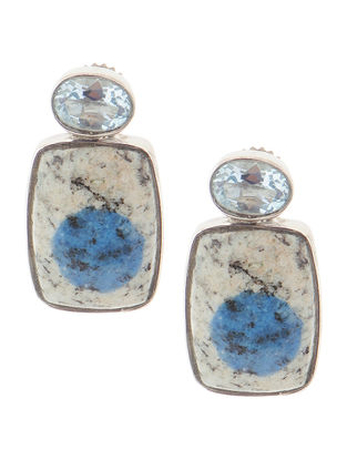 Blue Topaz and Granite Silver Earrings