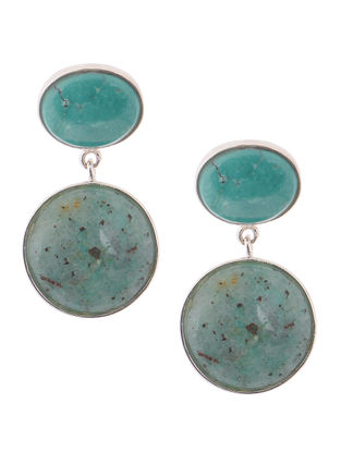 Turquoise and Cuprite Silver Earrings