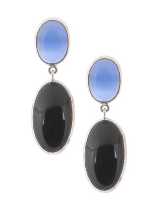 Blue Chalcedony and Onyx Silver Earrings