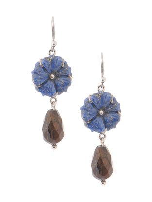 Lapis Lazuli and Bronzite Silver Earrings