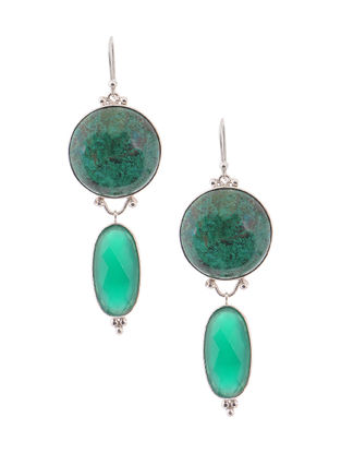 Chrysocolla and Green Onyx Silver Earrings