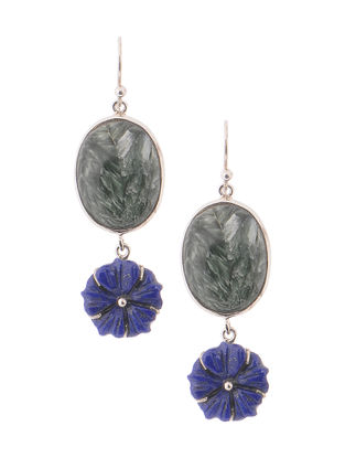 Seraphinite and Lapis Lazuli Silver Earrings