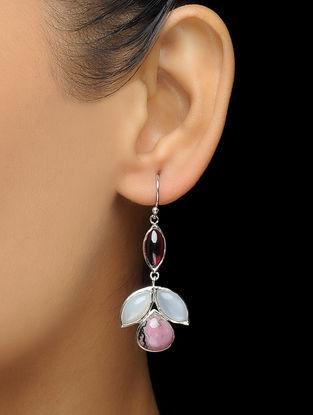 Garnet and Moonstone Silver Earrings