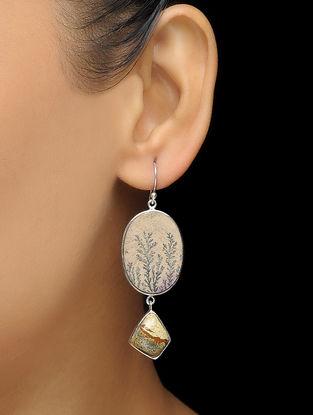 Limestone and Picture Jasper Silver Earrings