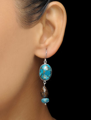 Blue Turquoise and Bronzite Silver Earrings