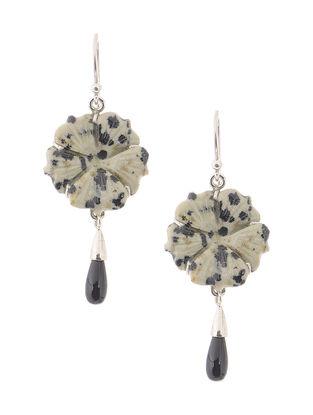Dalmatian Jasper and Onyx Silver Earrings