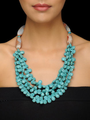 Turquoise and Agate Beaded Silver Necklace