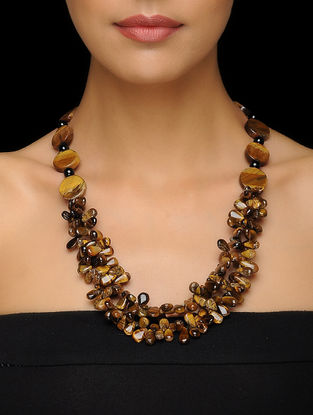 Tigers Eye and Obsidian Beaded Silver Necklace