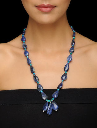 Sodalite and Turquoise Beaded Silver Necklace