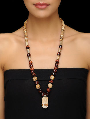 Red Tigers Eye and Picture Jasper Beaded Silver Necklace