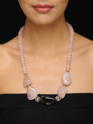 Rose Quartz and Hawks Eye Silver Necklace