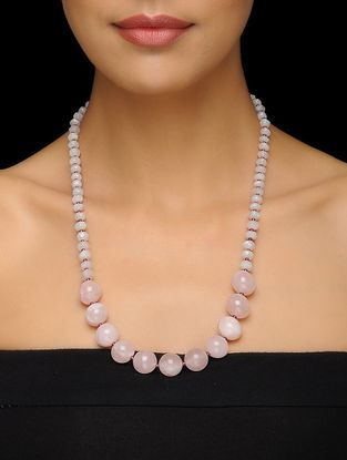 Rose Quartz and Moonstone Beaded Silver Necklace