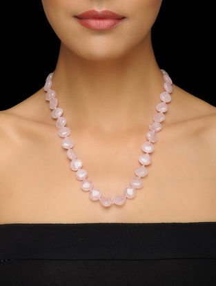 Rose Quartz Beaded Silver Necklace