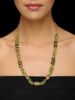 Peridot and Unakite Beaded Silver Necklace