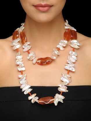 Pearl and Carnelian Beaded Silver Necklace