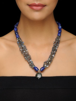 Labradorite and Lapis Lazuli Beaded Silver Necklace