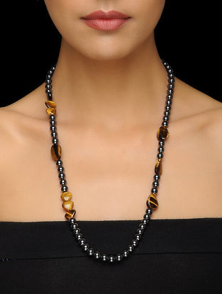 Hematite and Tigers Eye Beaded Silver Necklace