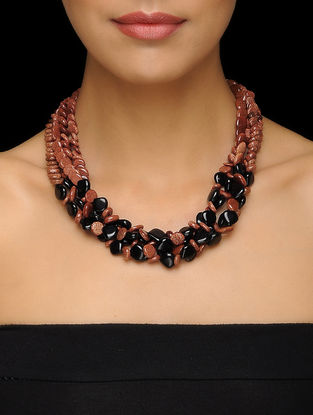 Goldstone and Onyx Beaded Silver Necklace