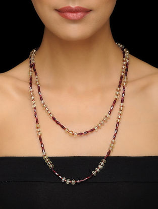 Garnet and Citrine Beaded Silver Necklace