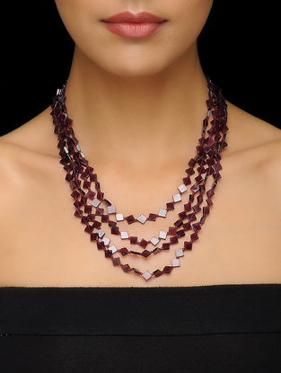 Garnet Beaded Silver Necklace