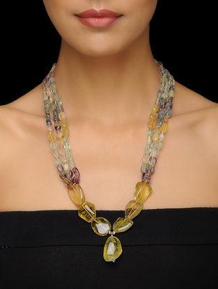 Fluorite and Lemon Quartz Beaded Silver Necklace
