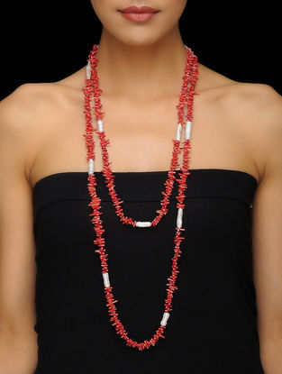 Coral and Pearl Beaded Silver Necklace