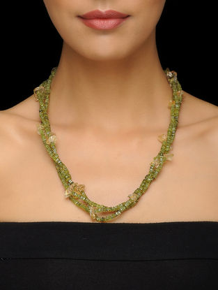 Peridot and Citrine Beaded Silver Necklace