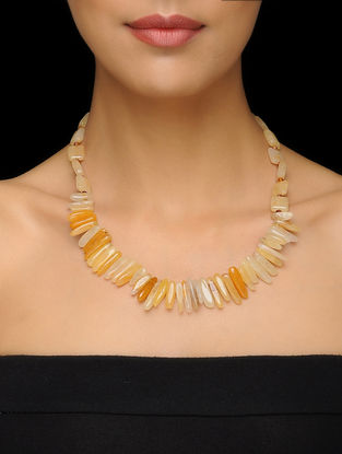 Agate and Citrine Beaded Silver Necklace