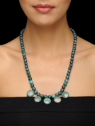 Chrysocolla and Cuprite Beaded Silver Necklace