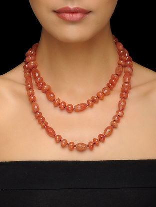 Carnelian and Garnet Beaded Silver Necklace