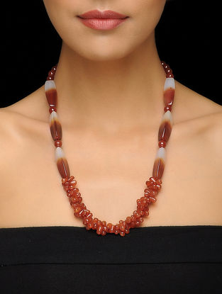 Carnelian and Agate Beaded Silver Necklace